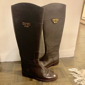 Tory Burch dark brown leather riding boots sz 6.5
